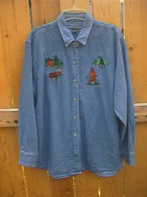 Denim Shirt with Grizzly and Moose pattern